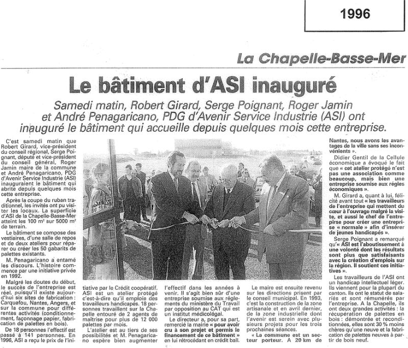 Article Inauguration La Chapelle Basse Mer 1996