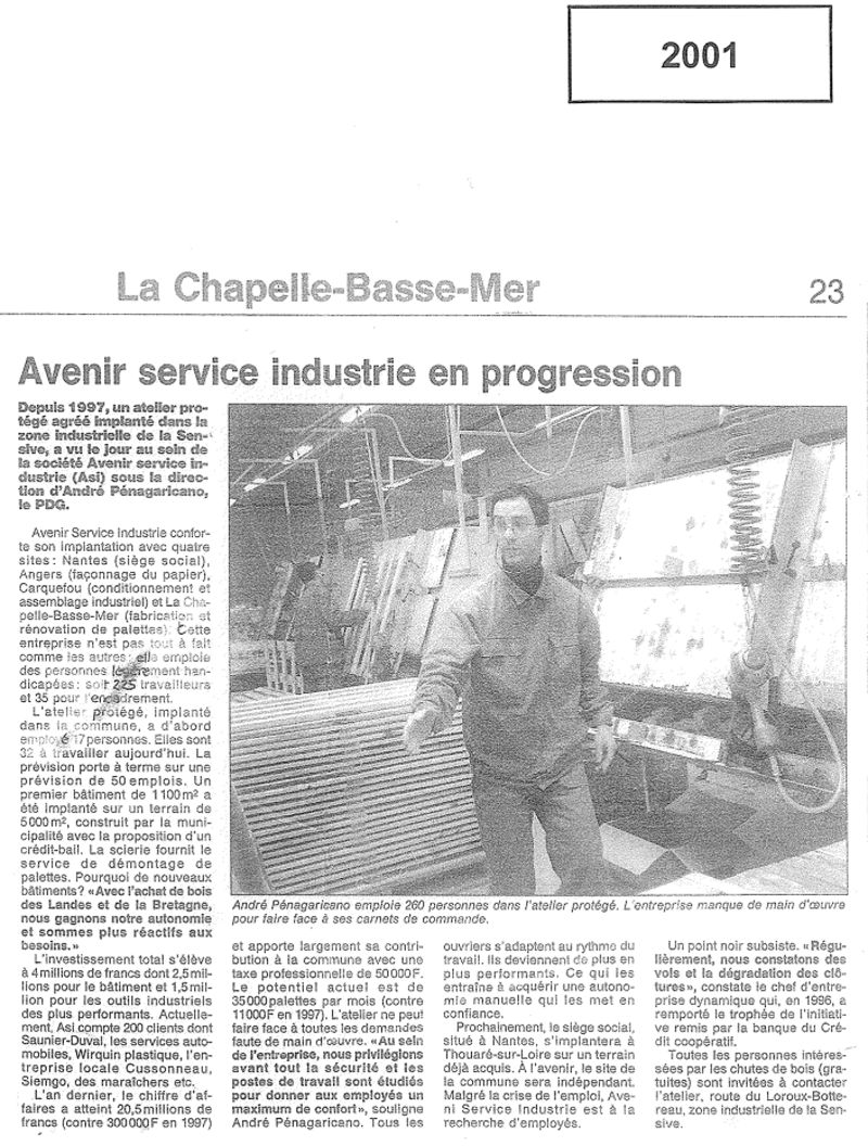 Article Ouest France 2001