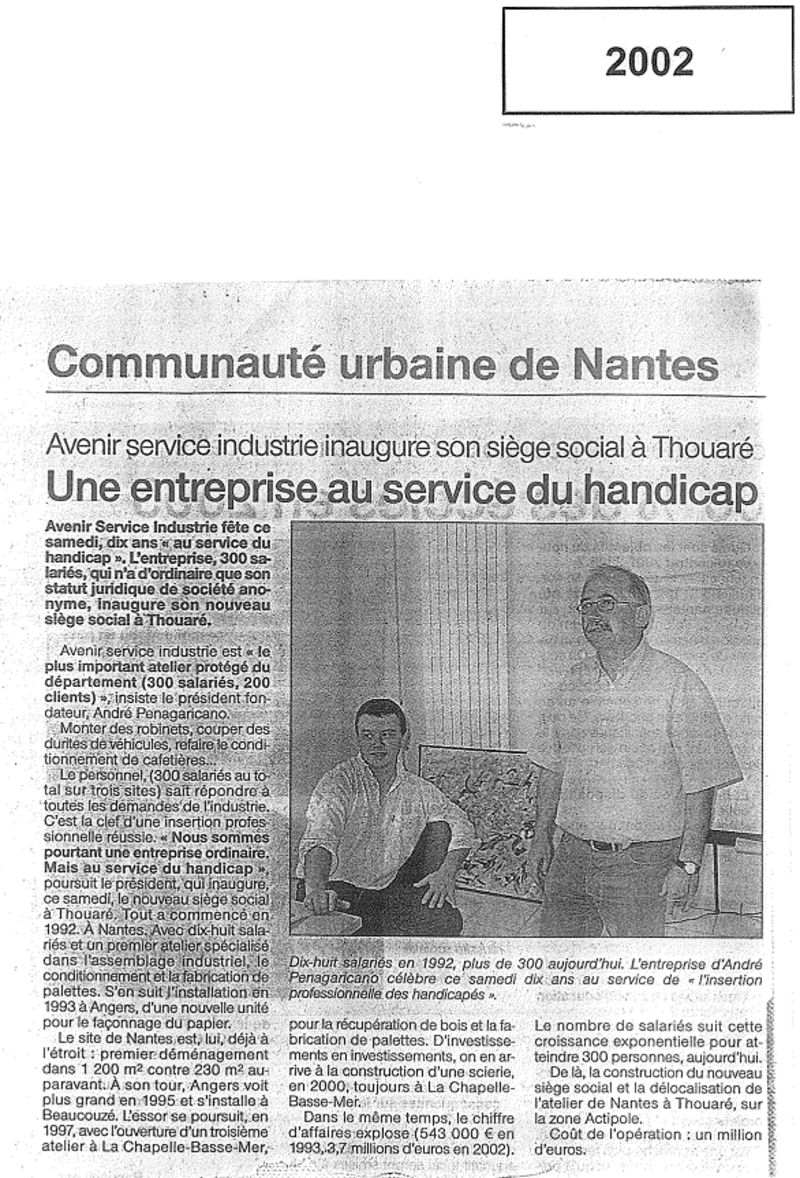 Article Ouest France 2002