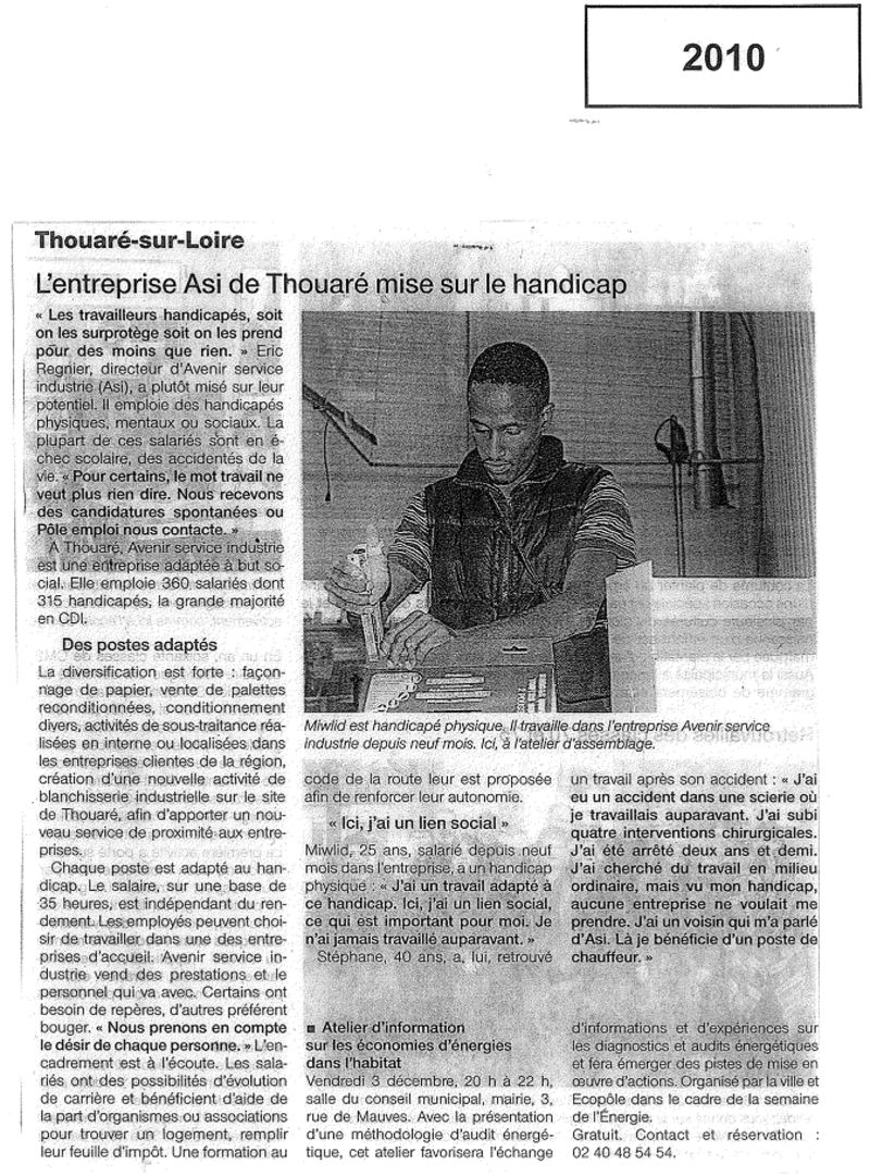 Article Ouest France 2010