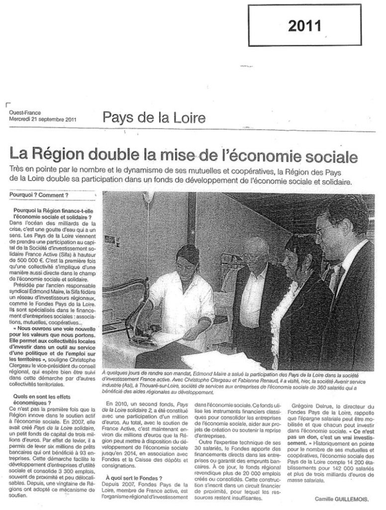 Article Ouest France 2011