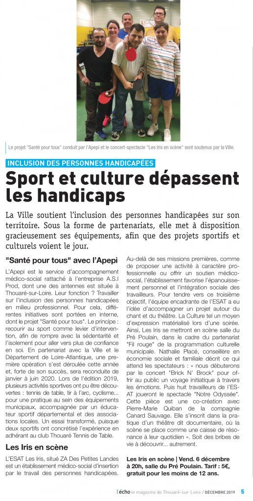 Article l'écho Thouaréen 2019-11