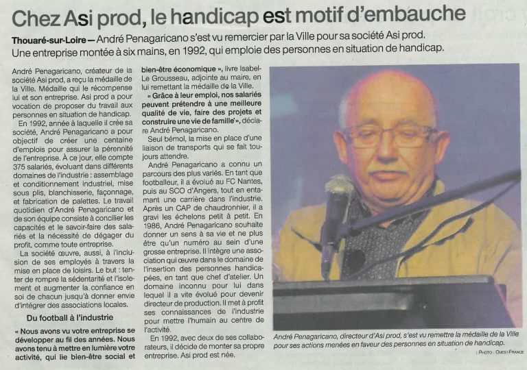 Article Ouest France du 23/01/2020