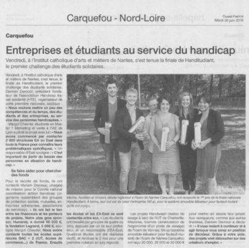 20160628 - Ouest france - Entreprises et étudiants au service du handicap - SitUp